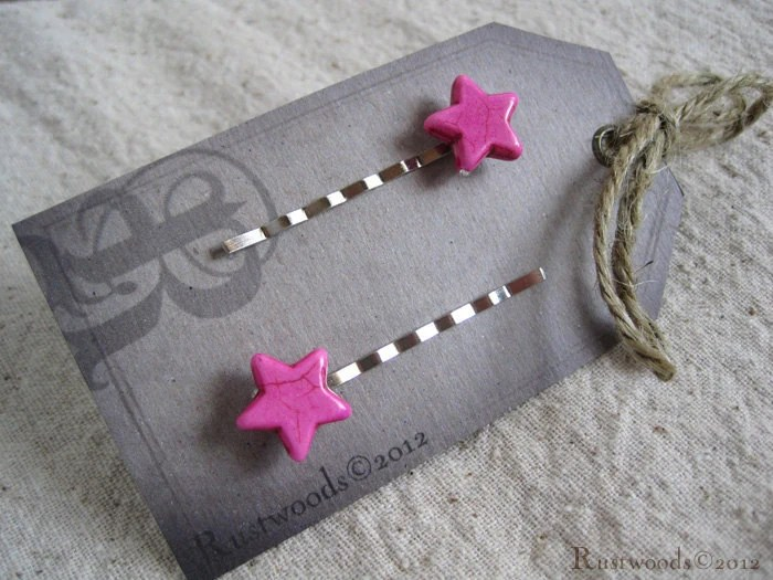 Pink Star Bobby Pin Set (bp015)
