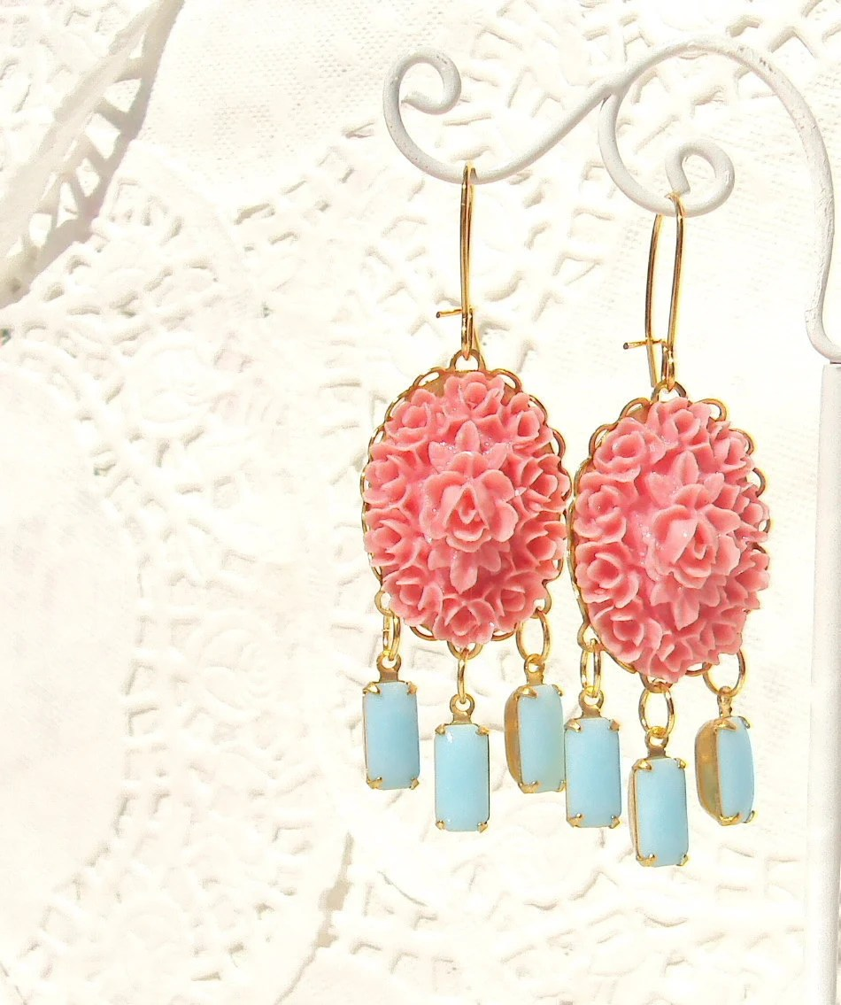 Bloom -  Vintage Flower and Jewel Earrings - NestingPretty