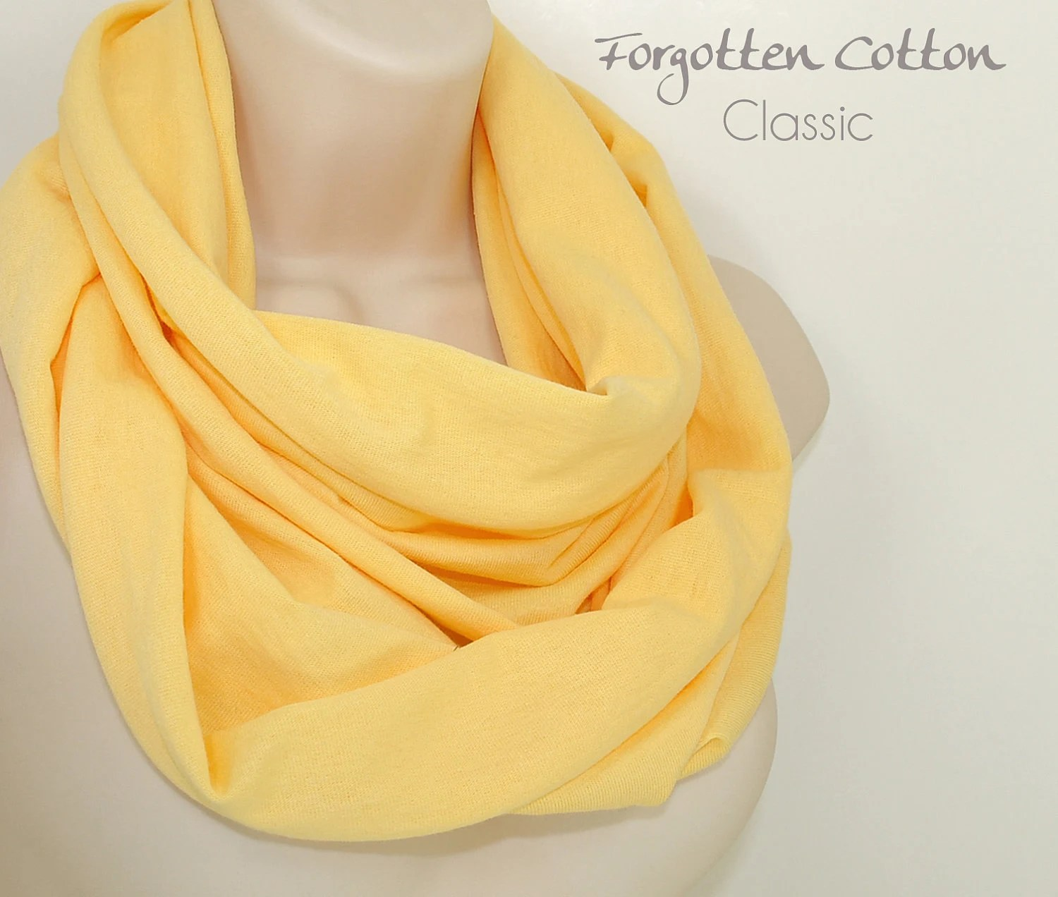 Spring Scarf Infinity Scarf Yellow Circle Loop by Forgotten Cotton - ForgottenCotton