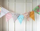 Shabby Chic Fabric Banners, Spring Bunting, Wedding Bunting, Floral, Roses, Stripes, Polka Dots - 3 yards (3rd version) - BerryAlaMode