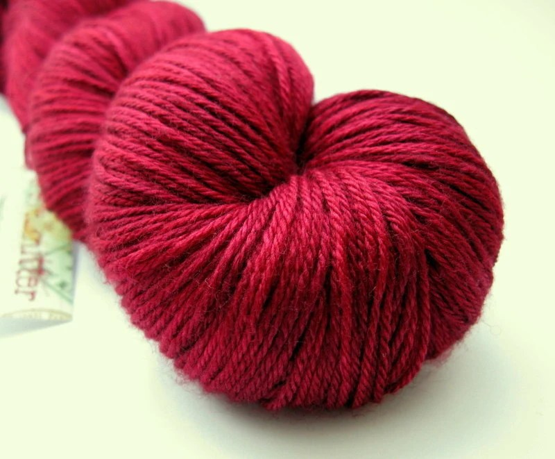Hand dyed British Merino / Silk 4ply sock weight yarn - Wine