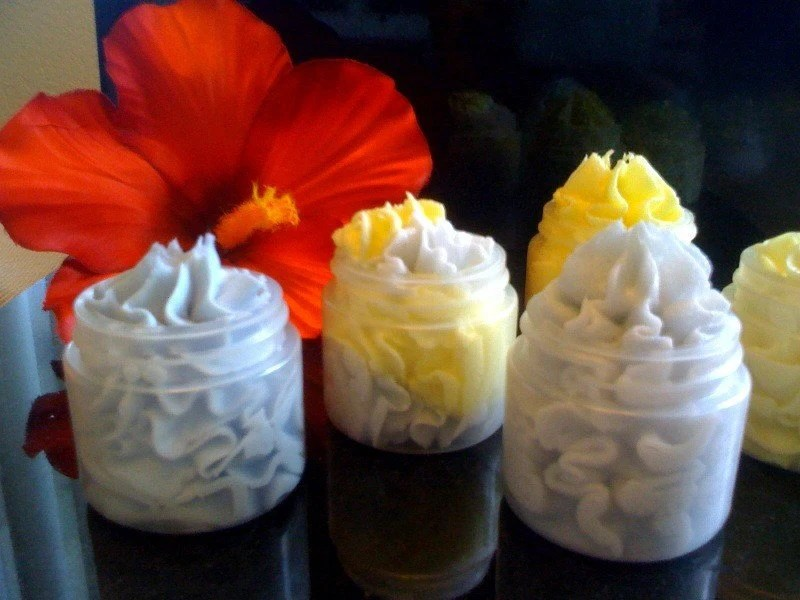 Choose TWO SAVE - - 2 oz Whippy Body Butters and 2 oz Foaming Whipped Bath Butter Scrubs with 5 skin nourishing oils REG 9.50
