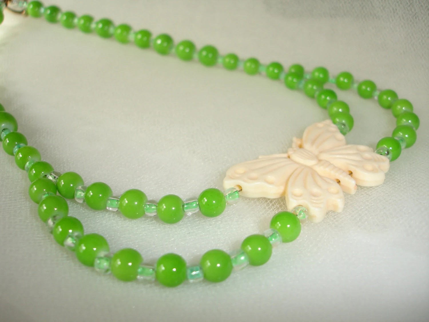 SUMMER BUTTERFLY Necklace Peridot Green Beads   Mother's Day Prom Shabby French Country Chic....by Spirit Designs by KC