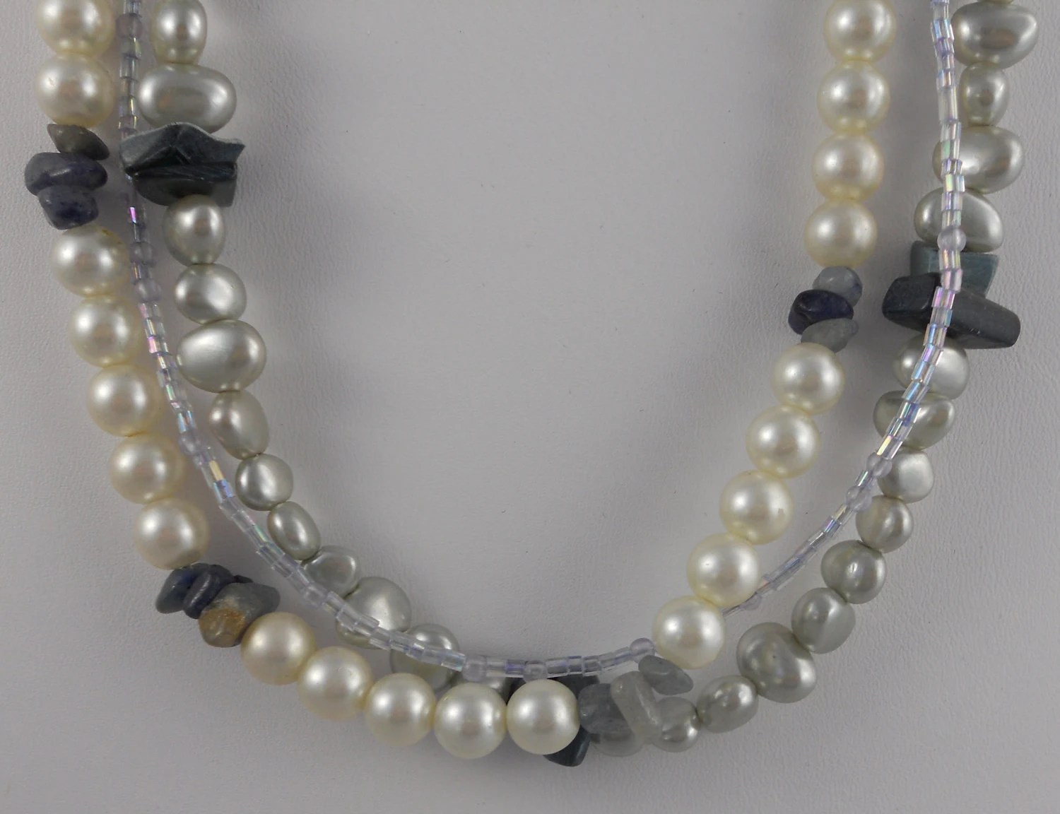 3 Strand Pearl, Blue Shell, Blue Stone, and Glass Bead Necklace