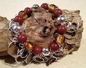 Glass Bead Shell Silver Beads Bobble Bracelet Brown Tan Amber Shells Beaded OOAK