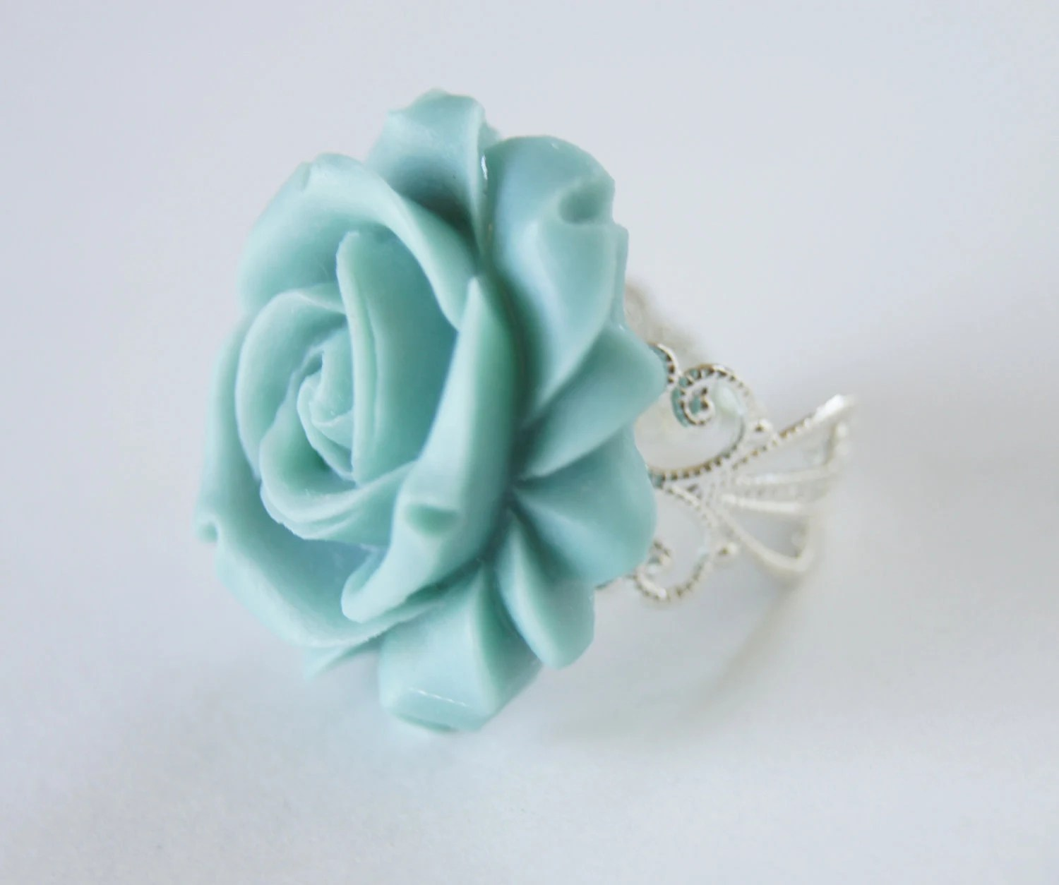 Blue Resin Rose Flower Silver Metal Vintage Inspired Adjustable Ring, Bridesmaids, Spring Fashion, Wedding, Bridal Jewelry