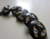 Vintage Buttons - Black glass gold and rhinestone embellished, lot of 6  ( 613)
