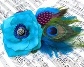 Feather Fascinator turquoise Rose Antique Button hair clip - GwendolyneHats