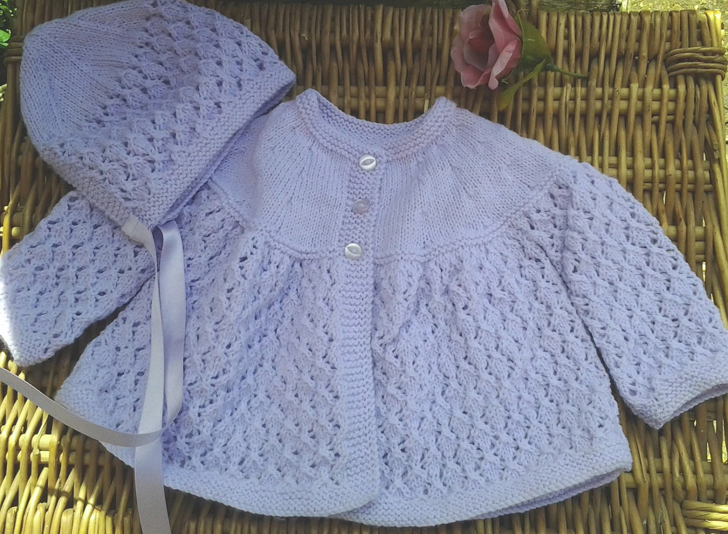 Baby Girl's traditional lilac  / mauve Diamond lace matinee jacket and bonnet.