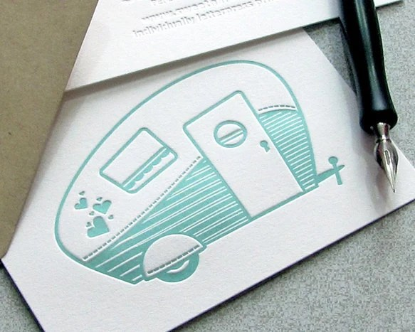 Retro Camper Letterpress Folded Note Card Set - Retro Camper, Vintage Camper, Travel Trailer, Airstream, Aqua Blue (4BCA1) - sweetharvey