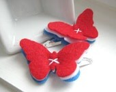 Fourth of July Felt Butterfly Hair Clips, Red White and Blue, American Flag - Snap Clip - Hair Accessory - SweetPB