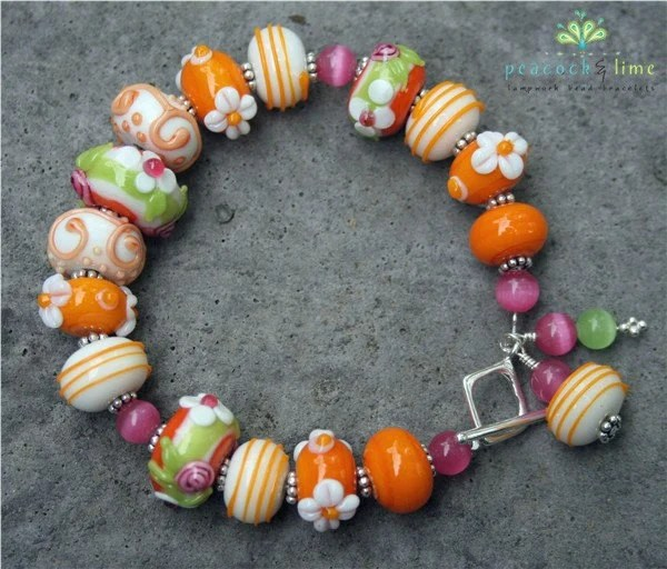 strawberry creamsicle bracelet