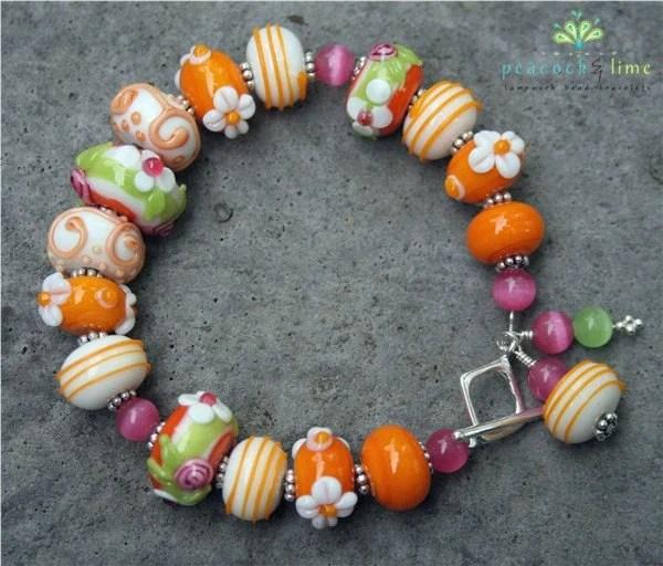strawberry creamsicle bracelet