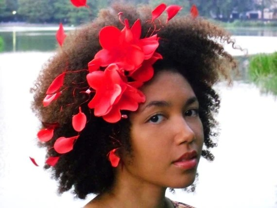 Hair Accessories Headband Red Flowers