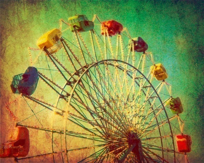 Carnival photography autumn circus texas baby room green nursery ferris wheel - The Unbearable Elation of Summer 8x10 black friday etsy sale