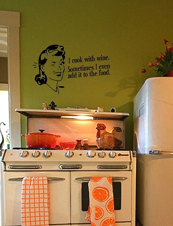 Custom Wall Decal - Retro-Vintage Kitchen Cooking Quote