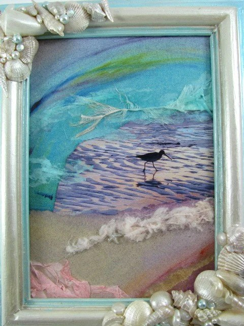 Seaside Dreams Mixed Media Collage Assemblage Upcycled