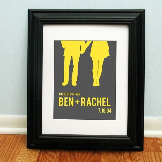 Personalized Wedding Gift - Couples Silhouette - Choose your text and colors
