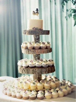 The Original Designed 4 Tier Tree Slice Large Cupcake Stand reserved for Amy