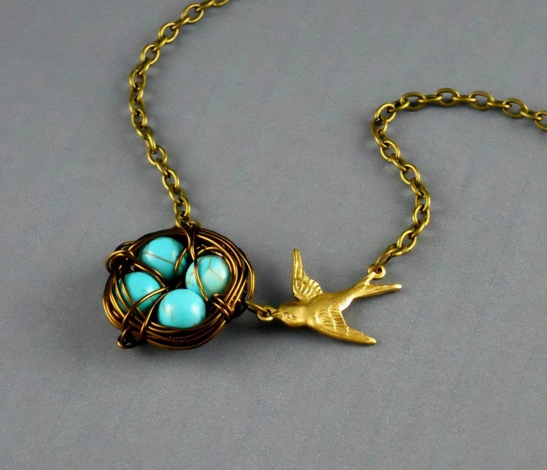 Free Shipping Bird Nest Egg Robin Blue Necklace