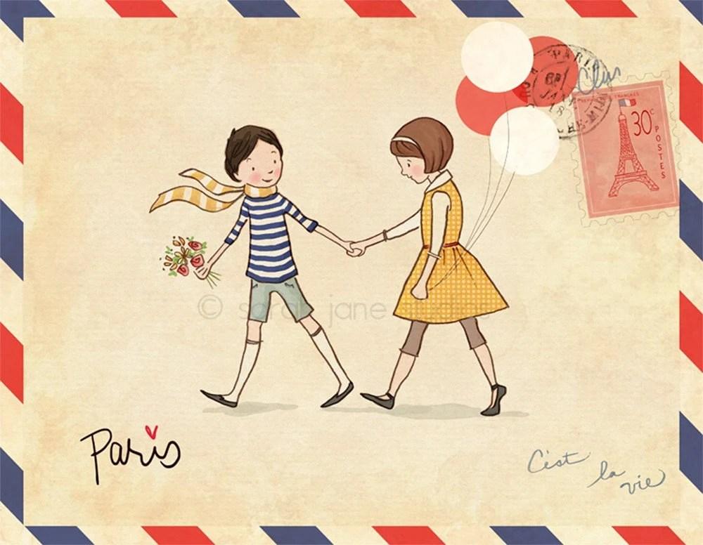 Children's Wall Art Print - Paris - 8x10 - Boy & Girl Kids Nursery Room Decor