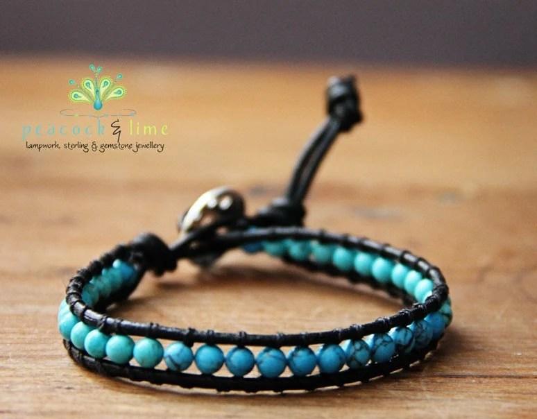 Costa Azul single leather wrap bracelet - surf series collection