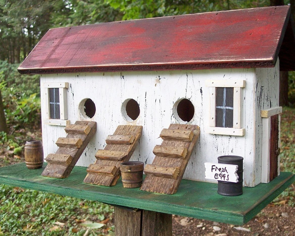 Chicken Coop Hen House Primitive Birdhouse Three Compartment Coop