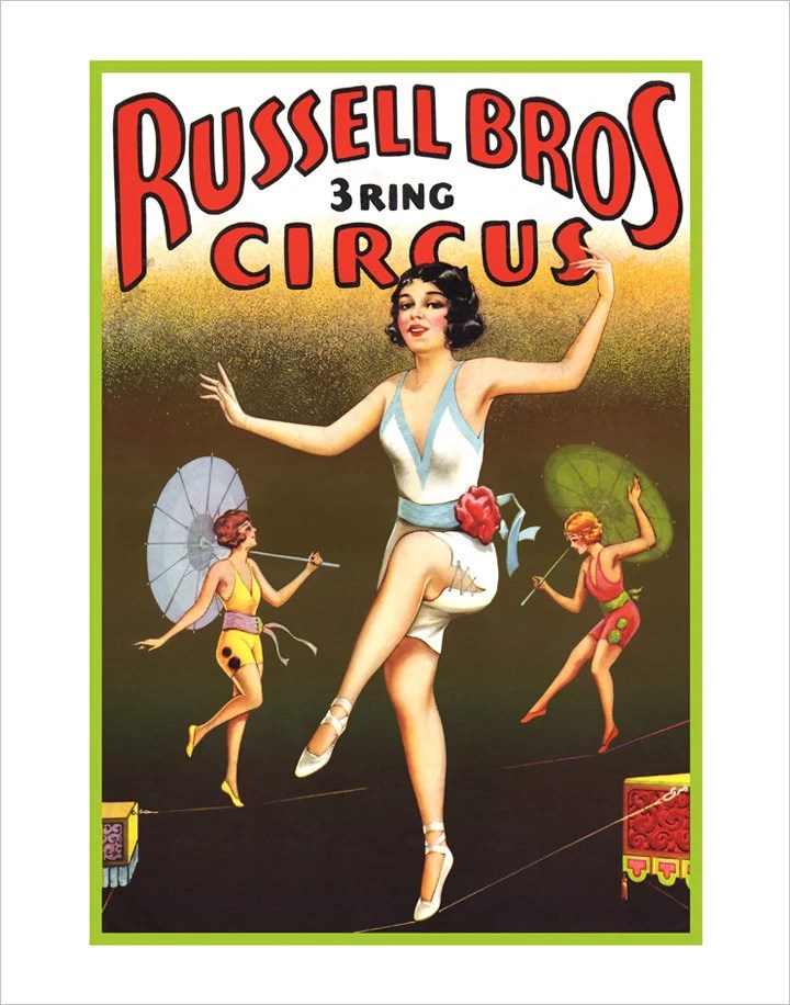 Circus Tightrope Walkers - Vintage Poster   11x14 - Print