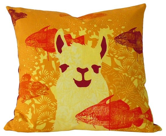 pillow case Llama Coral Reef Orange