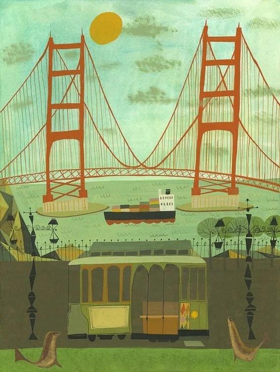 Golden Gate Bridge.  Limited edition 13x19 print by Matte Stephens.