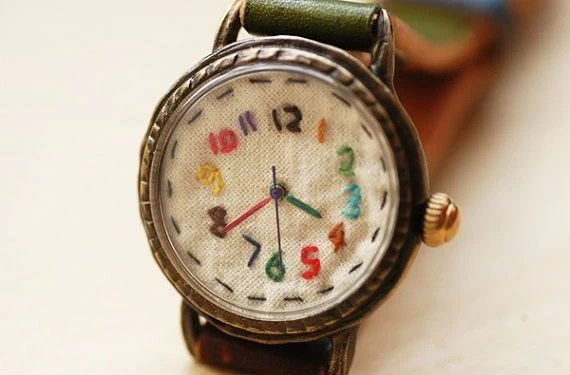 Vintage Watch. Handstitch. Leather Band ///////// Handcraft Watch ///////// yumyum