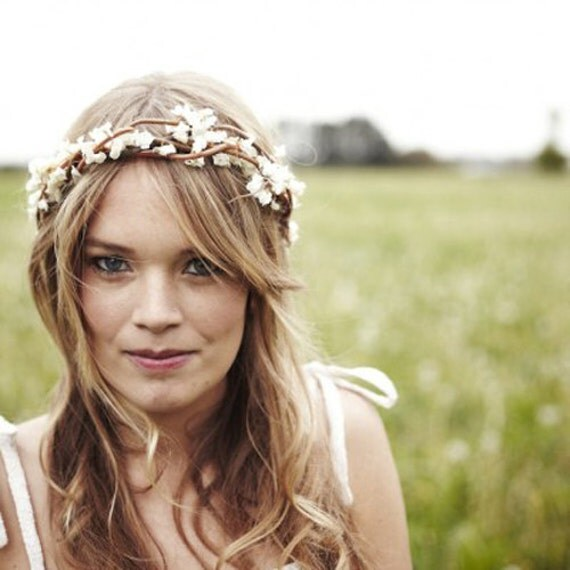 rustic flower bridal crown (adjustable) 'adeline'