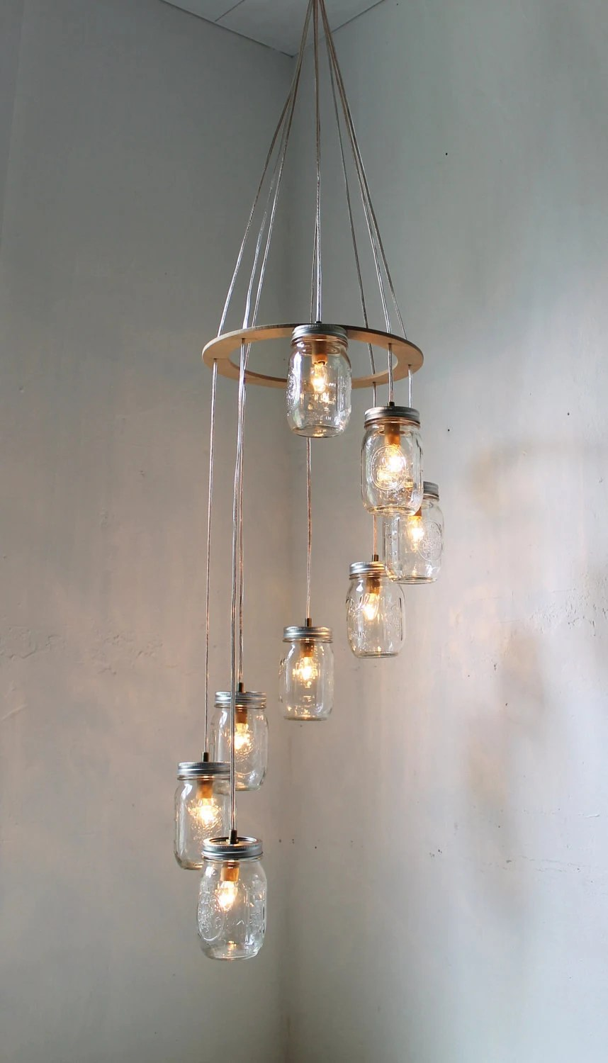 Spiral Mason Jar Carousel Chandelier Hanging Light  - Mason Jar Lighting - Eco Friendly Rustic Wedding - Original BootsNGus Design