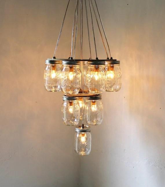 Mason Jar Chandelier - Mason Jar Lighting - 3 Tier Upside Down Wedding Cake - Handcrafted Upcycled BootsNGus Hanging Pendant Light Fixture