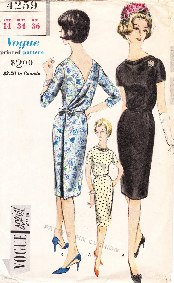 Vintage 1950s / 60s dress pattern - Vogue Special Design 4259 - Bust 34