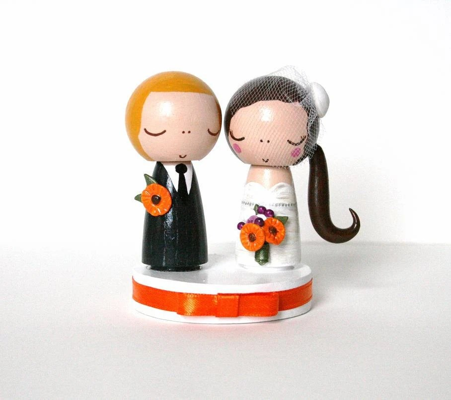 Custom Simple is Sweeter Mini Wedding Cake Topper with Bouquet