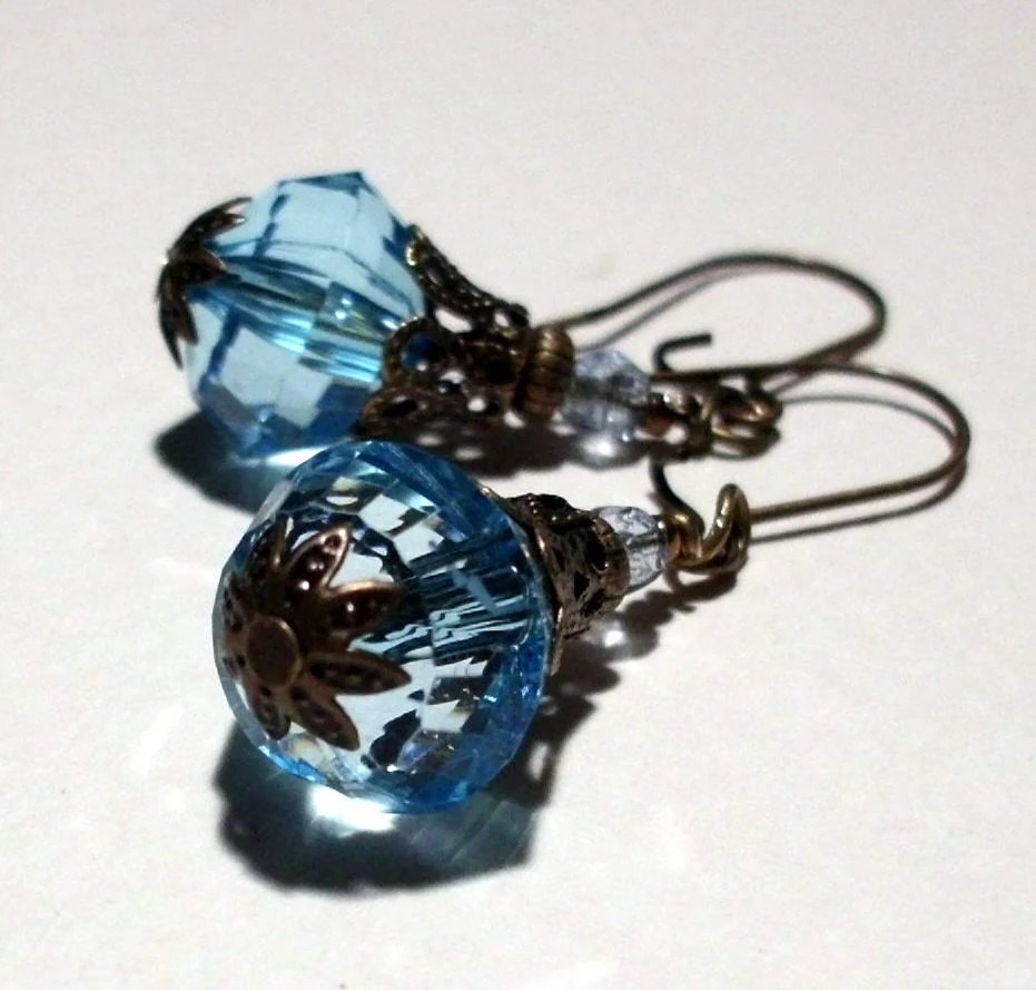Blue Faceted Acrylic Vintage Style Earrings on medium kidney wires
