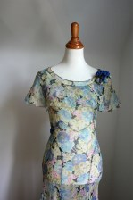 Vintage 1930s Dress Blue Sheer Floral Chiffon w. Capelet Collar