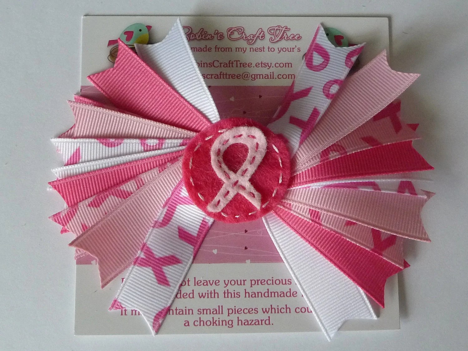 Breast Cancer Awareness Spikey Bow