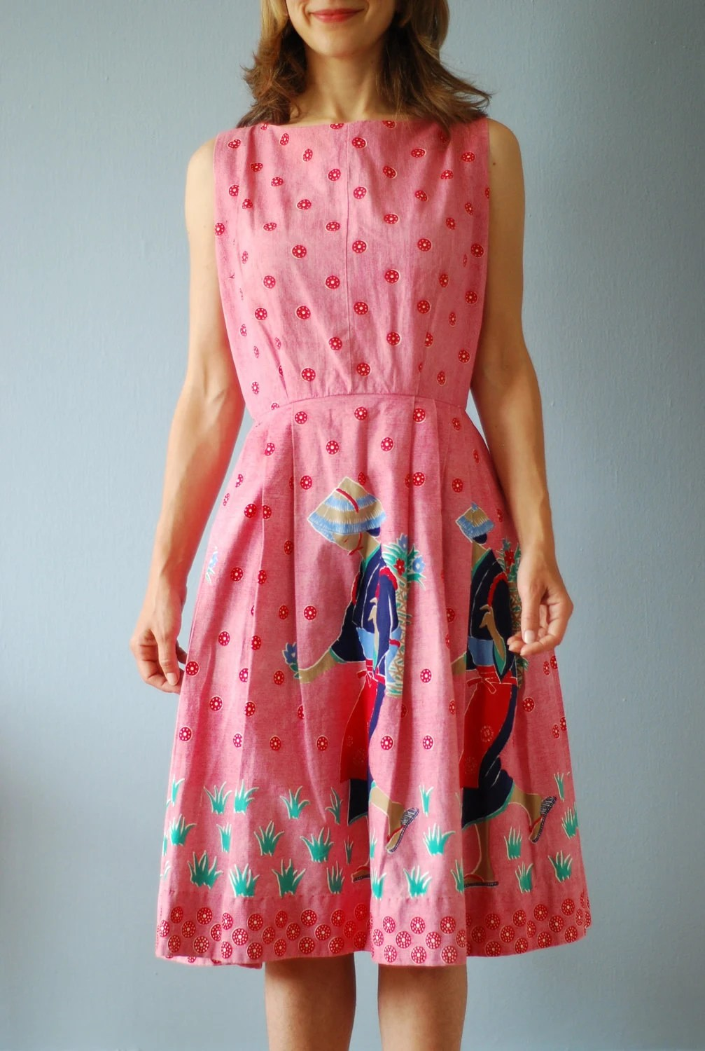 1950's Summer Dress with Japanese Woman Screen Print