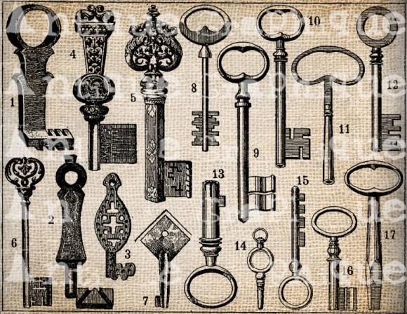 Antique Keys Skeleton Fancy Script Frame Digital Download for Papercrafts, Transfer, Pillows, etc. No 2315