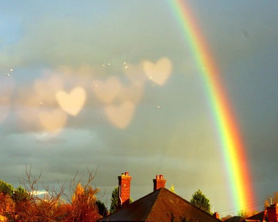 Rainbow photo. Fine art photograph Promise - Rainbow over England with hearts in the sky