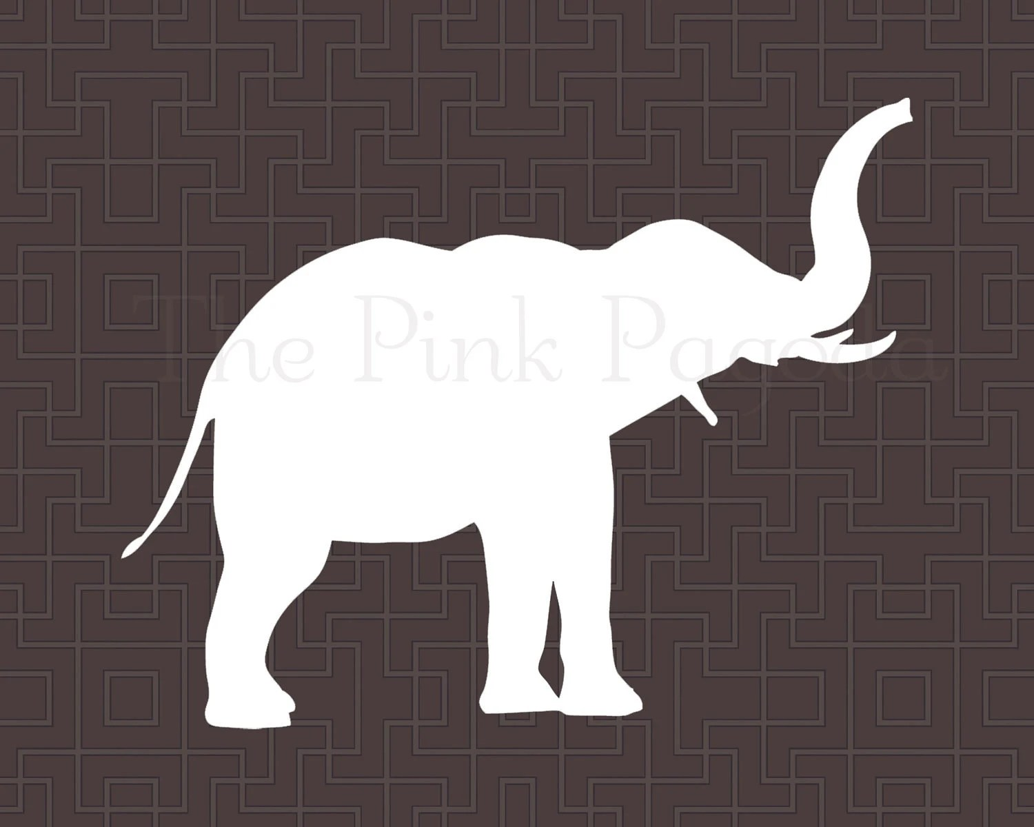 White Elephant on Chocolate Brown Lattice Facing Right Giclee 11x14