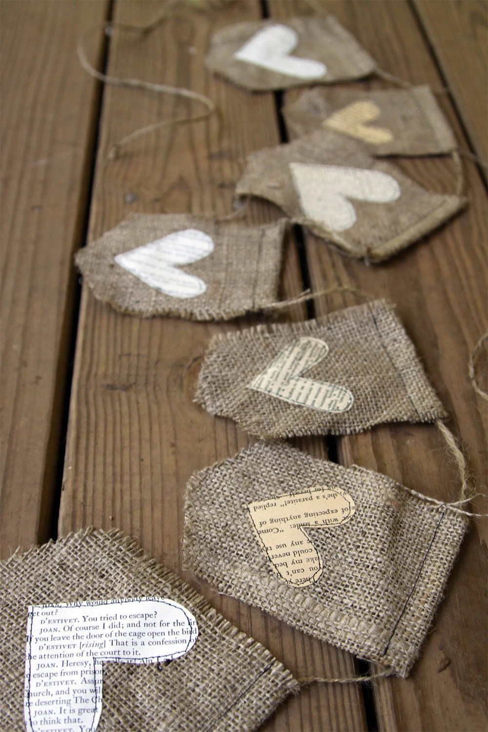burlap banner with text hearts