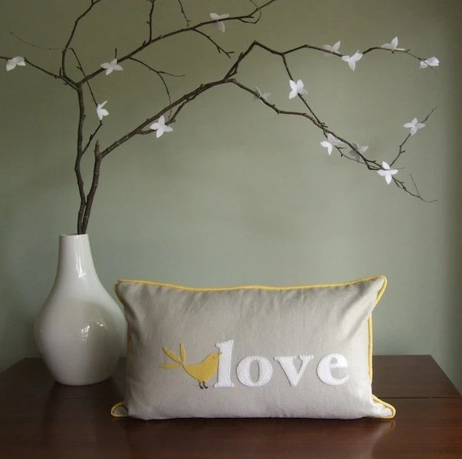 Love Bird Pillow. yellow