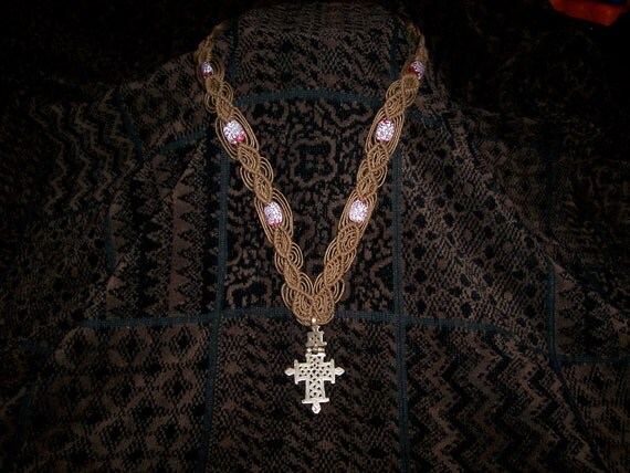 Hemp Macrame With Old Ethiopian Coptic Rasta Cross and Antique Glass Beads