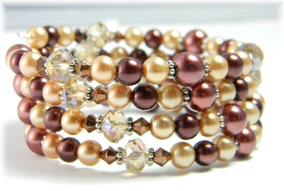 Gold Pearl Cuff Bracelet with Chocolate Brown and Copper Fall Colors