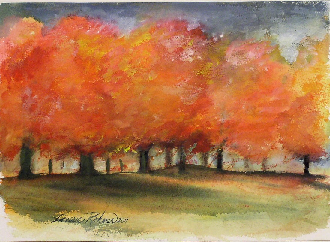 Original Watercolor Painting AUTUMN STORM fall color maple trees in Vermont.