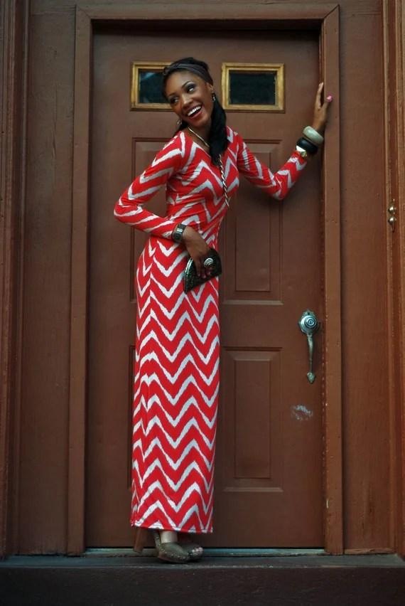 Zig Zag Batik inspired long Sleeve Maxi  Dress Size LARGE