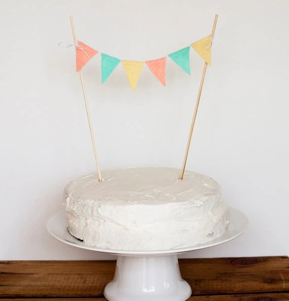 Cake Bunting (peach, aqua, light yellow)